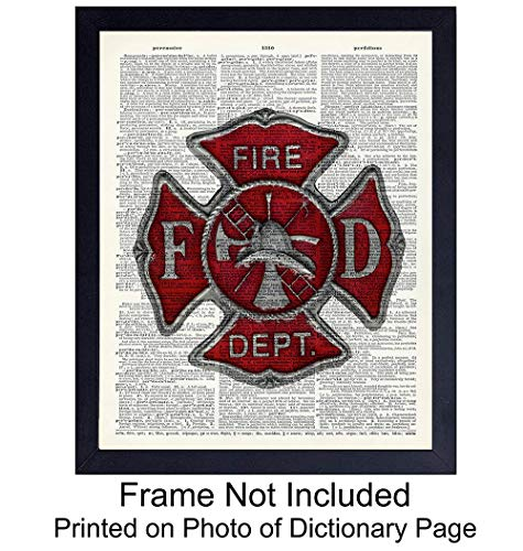 (Upcycled Dictionary Wall Art Print - Vintage 8x10 Unframed Photo - Great Gift For Steampunk Lovers and Fireman- Chic Home Firefighter Decor)