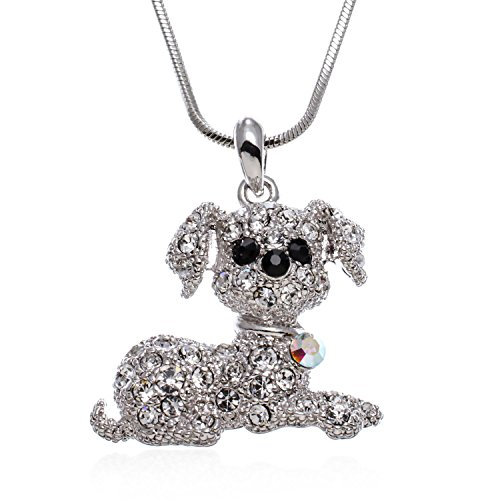 PammyJ Puppy Dog Necklace for Girls with Clear Crystals- Dog Jewelry Silvertone, 17.5