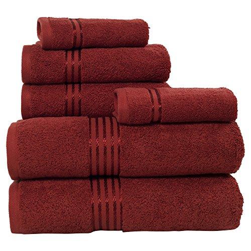 (Bedford Home 100%  Cotton Hotel 6 Piece Towel Set - Burgundy)