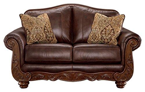Ashley Furniture Signature Design - Mellwood Leather Loveseat - Traditional - Walnut