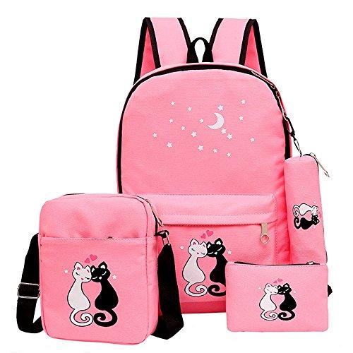 Fanci 4Pcs Cute Cat Prints Canvas School Rucksack Backpack Set for Girls Elementary Bookbag]()