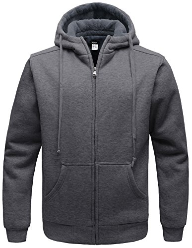 WANTDO Men's Warm Sweatshirt Sherpa Lined Hooded Cotton Fleece Hoodie (Hood Jumper)