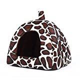 Echo Paths Strawberry Soft Tent Bed Cute Sponge Puppy Cat Cave Dog House for Pets Leopard XS (10.210.20.8 inch)