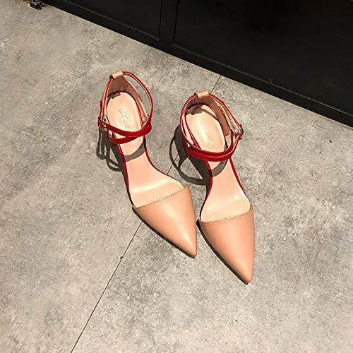 Yukun zapatos de tacón alto Correas Cruzadas Acentuadas con Gruesas Hembras con Hueco Hebilla Tacones Altos Zapatos Solos Color Desnudo Pequeño Fresco Pink