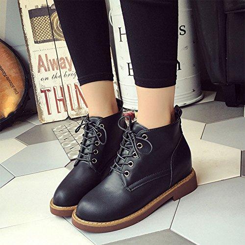 Frestepvie Women's Ankle Boots Autumn Winter Warm Fur Lined Fashion Hidden Heel Ladies Biker Boots Black Fur Lined pfRxo