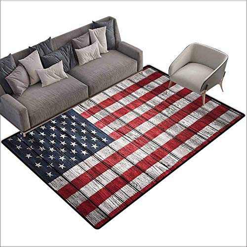 Soft Area Children Baby Playmats USA Flag Decor,Fourth of July Independence Day and The USA Flag Painted on Wooden Plank Pattern,Red Blue White 80