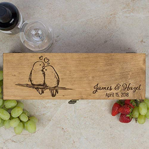 - Personalized Engraved Wine Box - Love Birds - First Names and Date