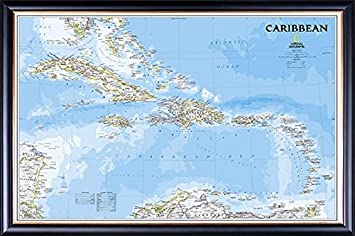 framed caribbean islands map perfect for push pins in executive black wood frame with gold lip