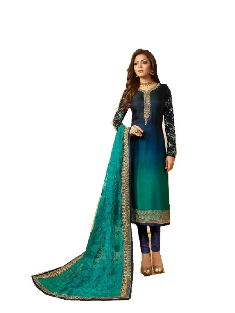 Delisa Designer Wedding Partywear Silk Embroidered Salwar Kameez Indian Dress Ready to Wear Salwar Suit Pakistani LTN (Turquoise, MEDIUM-40)