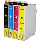 O'Image 4-Pack 220 T220XL Ink Cartridge Replacing for Epson Expression XP-320 420 424 WorkForce WF-2630 WF-2650 WF-2660 Series Printers (4-Pack: 1K/1C/1M/1Y)