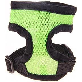 kaifongfu Adjustable Comfort Soft Breathable Dog Harness Pet Vest Rope Dog Chest Strap Lea (M, Green)