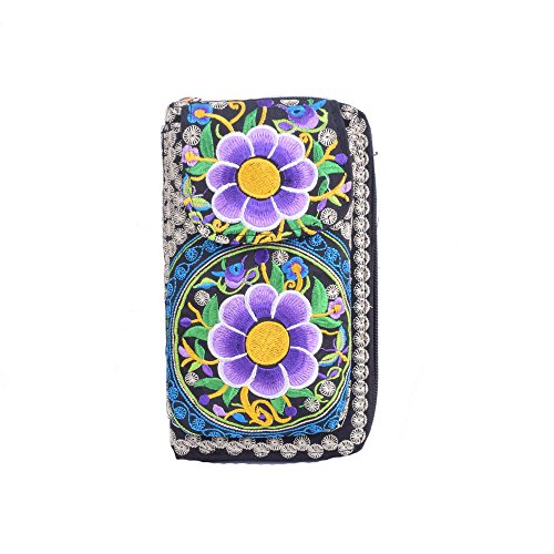 6 Card Holder Women's Bohemian Purse New Style Clutch Embroidery Design Bag Flower ppxSqPwvO1