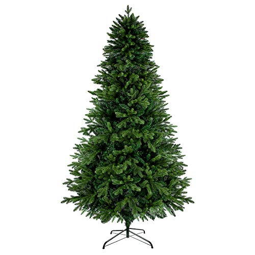 LUTER 7.5 Ft Artificial Christmas Tree Spruce Hinged Xmas Tree 1250 Branch Tips for Indoor Outdoor Holiday Decoration Easy Assembling with Solid Christmas Tree Metal Stand (Green) (Tree Flourish Christmas)