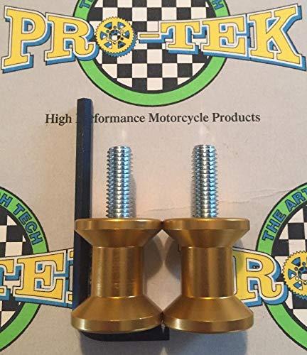 Pro-Tek Suzuki Swing Arm Spools 2002 2003 2004 2005 2006 2007 2008 2009 2010 2011 2012 2013 2014 2015 2016 2017 2018 2019 Vstrom DL-650 DL650 DL-1000 DL1000 8mm Spools Gold