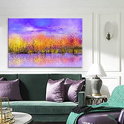 Abstract Vibrant Colorful Trees Under Purple Sky - Canvas Art