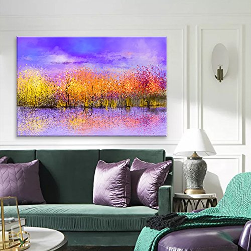 Wall26 Canvas Wall Art - Abstract Vibrant Colorful Trees under Purple Sky - Giclee Print Gallery Wrap Modern Home Decor Ready to Hang - 16x24 inches
