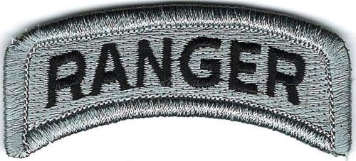 - Iron On Embroidered Patch Top Quality Grey Gray Black US Army Ranger Tab Hook Fastener 7/8