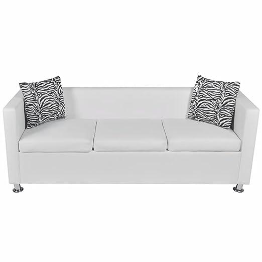 Luckyfu Este Sofá de Piel Blanca Artificial de 3 plazas.Este ...
