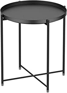 Tray Metal Round End Table,Black Folding Small Side Table Outdoor & Indoor Accent Coffee Table for Small Spaces,Bedroom,Patio