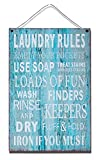 Laundry Rules Hanging Metal Wall Plaque Sign for Laundry Room, Garage, School, 14x8 inches