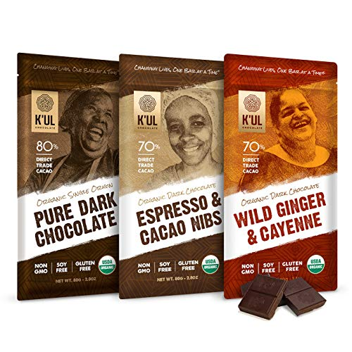 KUL CHOCOLATE Bars | 3 Pack Chocolate | Wild Ginger & Cayenne Chocolate Bar | Espresso & Cacao Nibs Chocolate Bar | Pure Dark Chocolate | Organic, Soy-Free, Vegan, Gluten-Free, Non-Gmo | 2.8oz Each