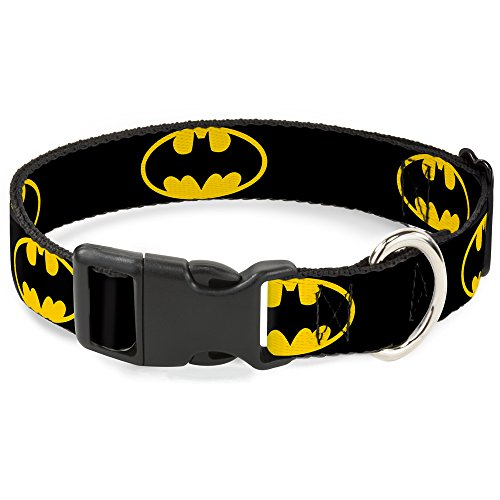 Batman Symbol Plastic Clasp Dog Collar (Large 15-26