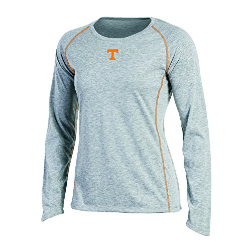 NCAA Champion Women's Long sleeve Crew Neck Raglan T-Shirt, Tennessee Volunteers, Small, Gray Heather