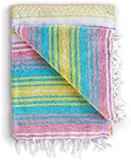 Mexican Blanket, Falsa Blanket | Authentic Hand Woven Blanket, Serape, Yoga Blanket | Perfect Beach Blanket, N