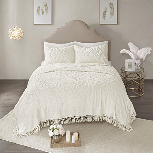 Madison Park Laetitia Coverlet Reversible 100% Cotton Chenille Floral Flower Medallion Tufted Fringe Tassel Soft Hypoallergenic All Season Light-Weight Woven Bedding-Set, Full/Queen, Ivory