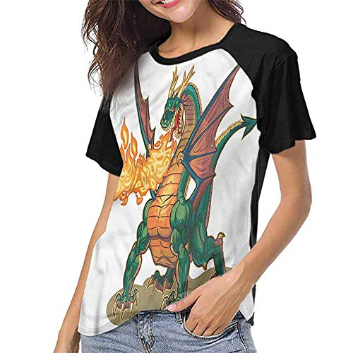 Mens Short Sleeve T-Shirt,Dragon,Mythical Monster Mascot S-XXL Printed Tee Female Baseball Shirt]()