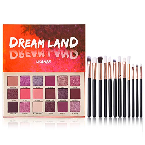 te Pigmented Eyeshadow Palette Glitter Pigmented Eye Shadow Makeup Pallet with 12pcs Pro Brushes Full Mirror Makeup Set ()