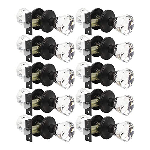 Antique Bronze Classic Crystal - Classic Rosette Door Knobs 10 Pack, Crystal Style Door Knob, Passage Hall/Closet Function, Antique Oil Rubbed Bronze