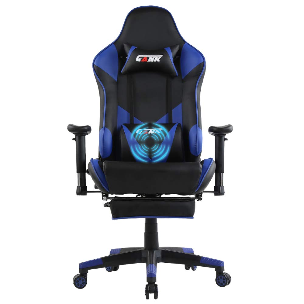GANK Gaming Chair Large Size Racing Office Computer Chair High Back PU Leather Swivel Chair with Adjustable Massage Lumbar Support and Footrest (Blue)