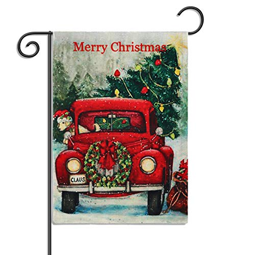 ZeeDix Merry Christmas Garden Flag Winter Yard Flag(18.5x12.6) Xmas Double Sided Flag, Rustic Quote Yard Flag with Red Truck,Happy New Year Seasonal Outdoor Flag,Winter Holidays Garden Decorations (Christmas Mailbox Flags)