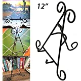 "Adorox Tall Black Iron Display Stand Holds Cook Books, Plates, Pictures & More! (12"")"
