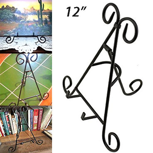 Adorox Tall Black Iron Display Stand Holds Cook Books,
