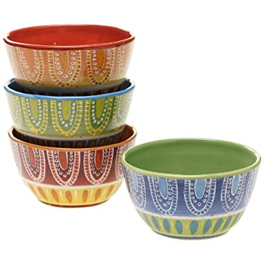 Certified International Tapas Ice Cream Bowl, 6-Inch, Assorted Designs, Set of 4