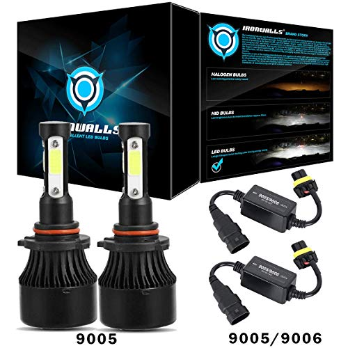 IRONWALLS 2PCS 9005 LED Headlight Bulbs All-in-one Conversion Kit 72W 8000LM 6500K + 2PCS Canbus Wiring Harness Adapters Anti Flicker