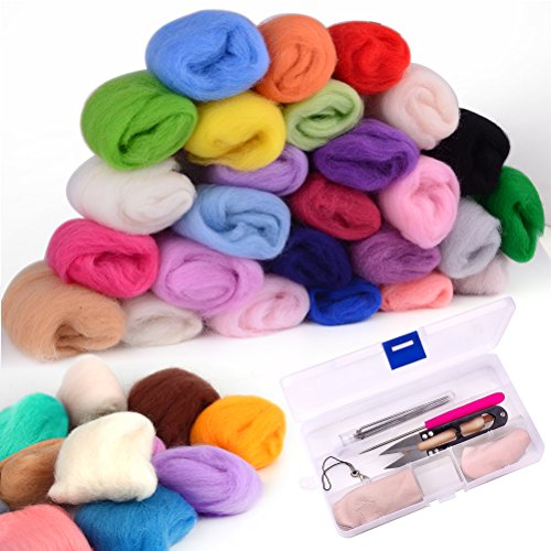 Zealor 36 Colors Needle Felting Wool Set with Needle Felting Starter Kit Wool Felt Tools