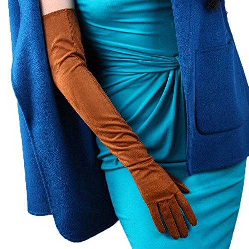 (Women's Long Gloves Faux Leather 24