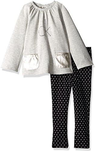 Calvin Klein Little Girls' Fleece Tunic With Pockets and Leggings Set, Gray, - Cotton Tunic Calvin