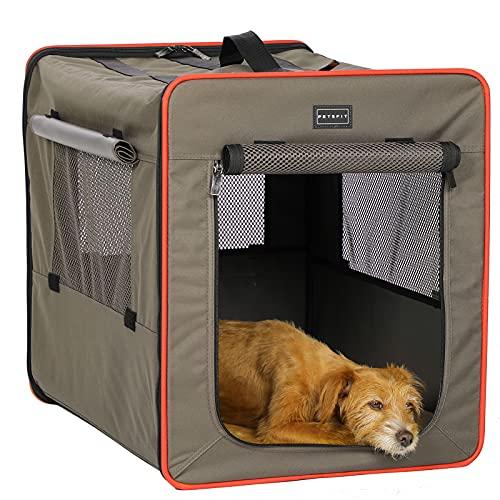 Petsfit faltbar Hundebox Transportbox für Auto & Zuhause Hundetransportbox Katzenbox mit Fleece Matte für große kleine…