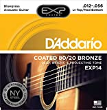 D'Addario EXP14 with NY Steel 80/20 Bronze Acoustic Guitar Strings, Coated, Light Top/Medium Bottom/Bluegrass, 12-56