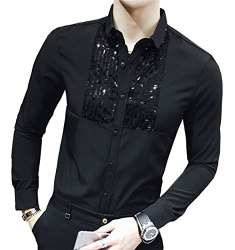 OUYE Men's Slim Fit Long Sleeve Casual Shirt XX-Large Black Front Sequins (Sequins Tags)