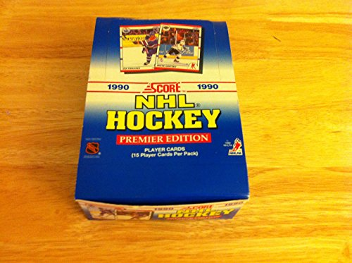 1990 - 1991 Score NHL Hockey Premier Edition Full Sealed Box of 36 Packs of 15 Trading Cards (Total of 540 Cards) Possible Rookies Include Brodeur, Lindros, Jagr and Roenick! (Score Hockey Card)