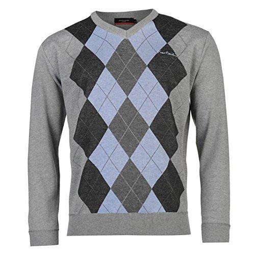 Pierre Cardin Argyle Knit Pull pour homme Gris/bleu Pull Top