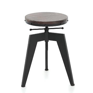 56c7a40238138a IKAYAA Tabouret de Bar Industriel en Pin et Métal Hauteur Réglable Chaise  de Petit Déjeuner (