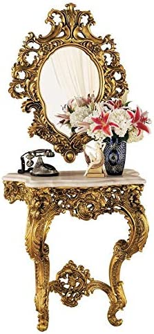 Design Toscano Madame Antoinette Complete Set of Salon Mirror and Wall Mount Console Table, Antique Gold