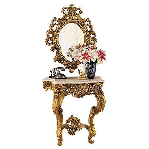 Design Toscano Madame Antoinette , Complete Set of Salon Mirror and Wall Mount Console Table, Polyresin, Antique Gold (And Table Mirror Sets Console)
