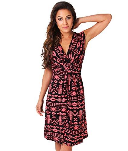KRISP Womens Fashion Casual Stretch Front Knot V-Neck Aztec Print Tank Dress Plus Size (US 12, Coral/Black) ()